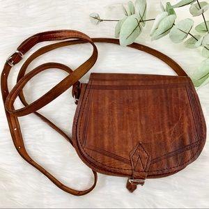 Vintage Leather Crossbody Mini Bag Boho